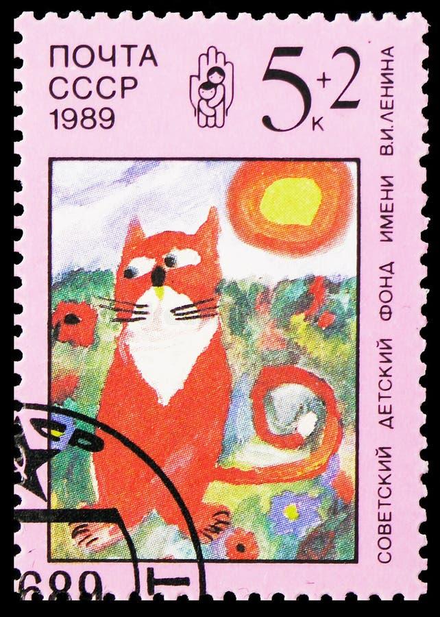 猫,列宁儿童的资金serie,大约1989年 免版税库存照片