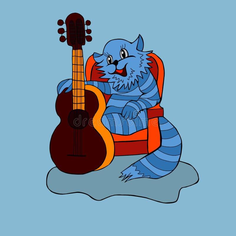猫,歌曲,吉他,动画片,音乐,喜悦,乐趣,假日,声音,和谐,节奏,样式,尾巴,羊毛,小猫,动物,镶边,蓝色 皇族释放例证