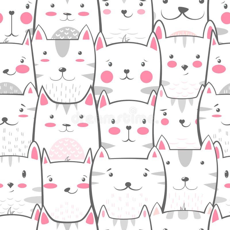 猫,逗人喜爱的全部赌注-,滑稽的样式 库存例证
