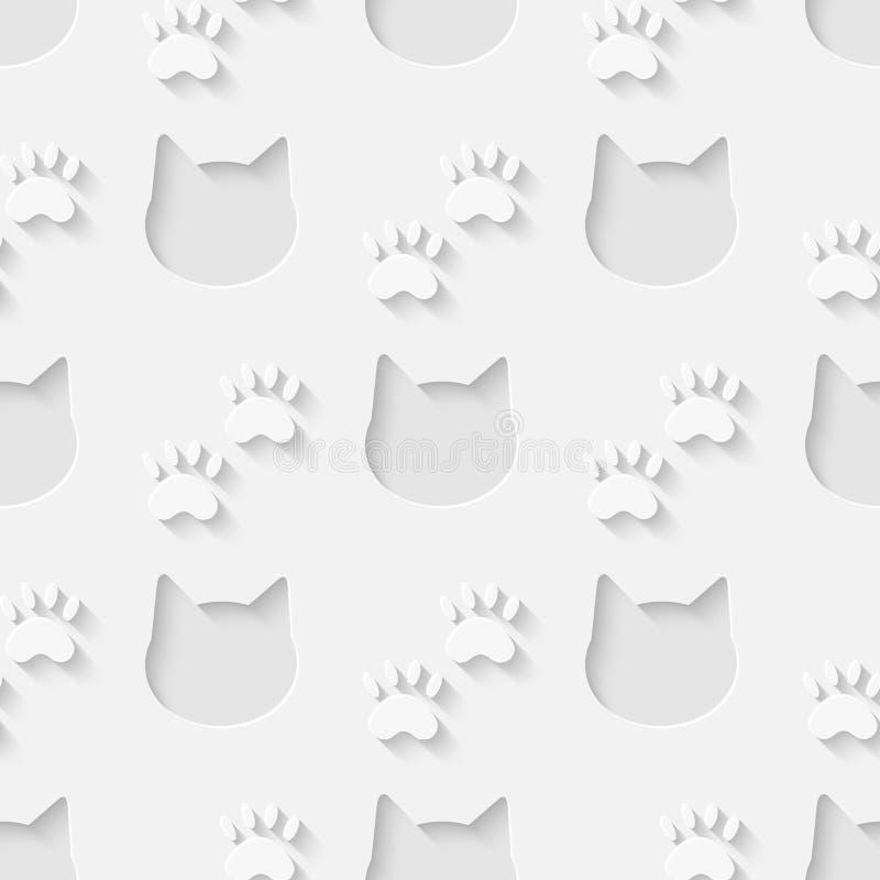 猫头和爪子剪影无缝的样式 库存例证