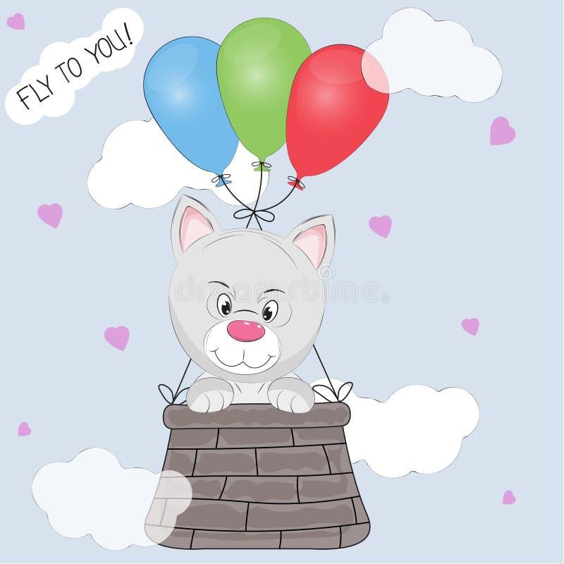 猫崽在篮子飞行被栓对气球的贺卡 库存例证