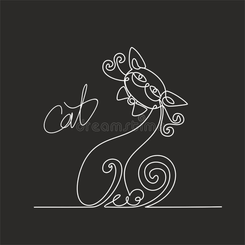 猫 实线图画 滑稽的小猫 字法 黑色背景 粉笔板的作用 向量 库存例证