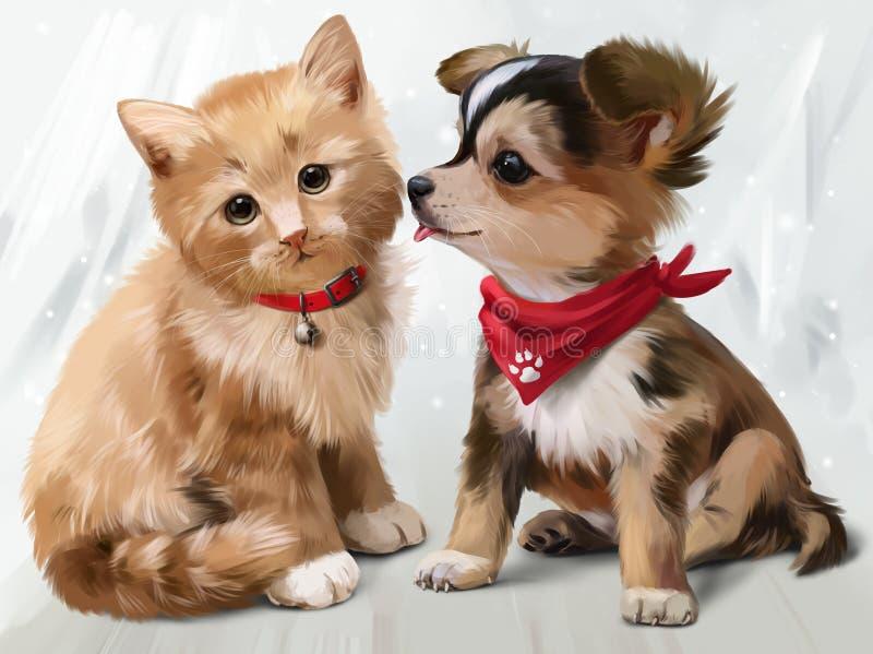 猫&狗水彩绘画 皇族释放例证