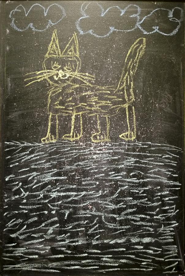 猫-粉笔画 库存图片