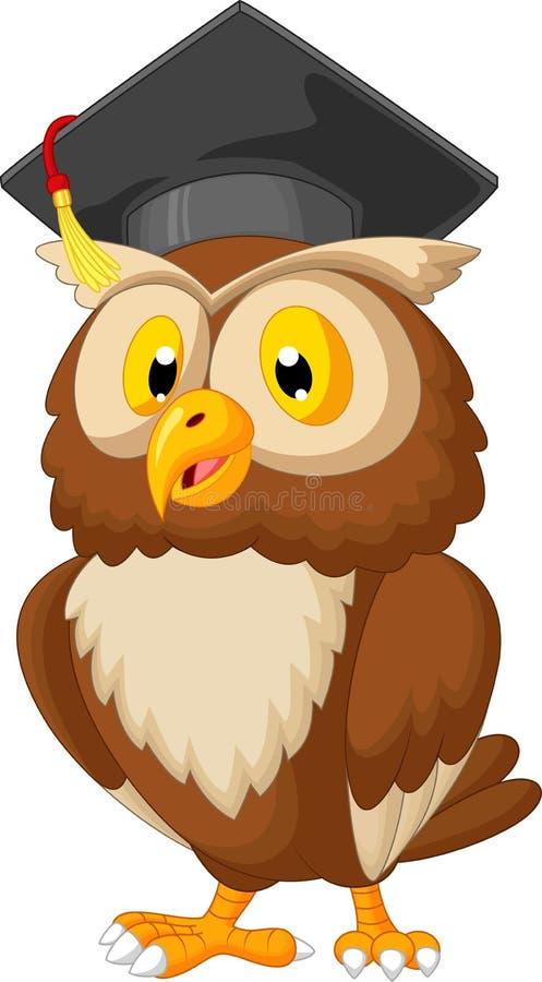 猫头鹰佩带的毕业盖帽 皇族释放例证