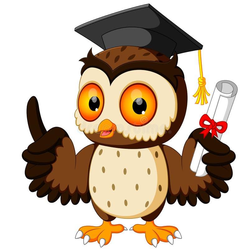 猫头鹰动画片佩带的毕业盖帽 皇族释放例证