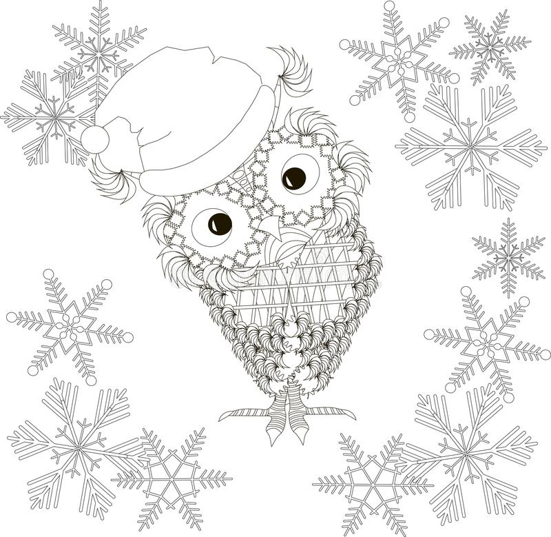 猫头鹰在圣诞老人帽子,雪花,上色页反重音 库存例证