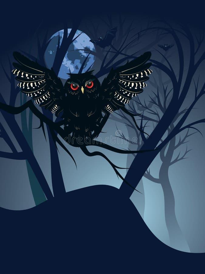 猫头鹰在夜森林里 库存例证