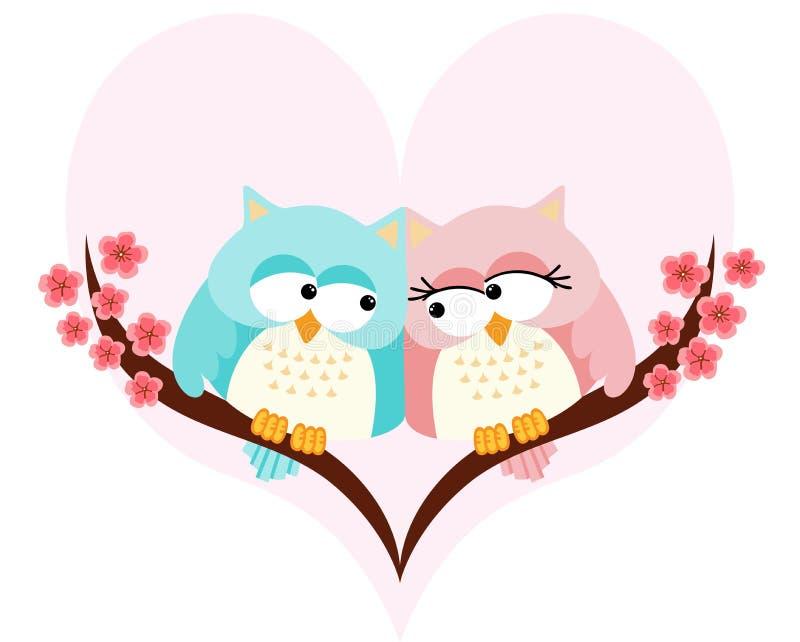 猫头鹰在心脏的背景的爱结合 皇族释放例证