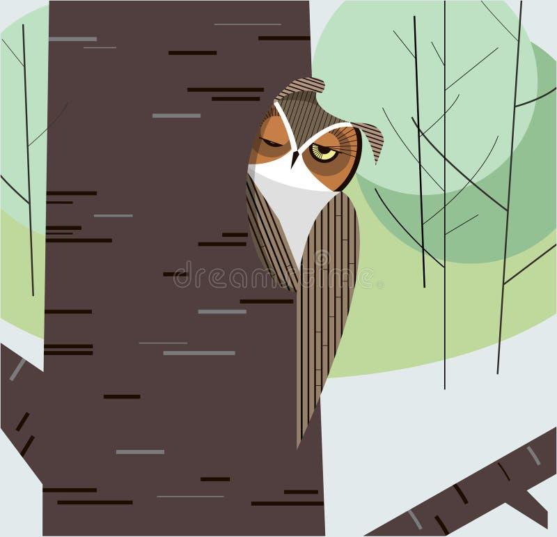 猫头鹰在树干的凹陷打盹 向量例证