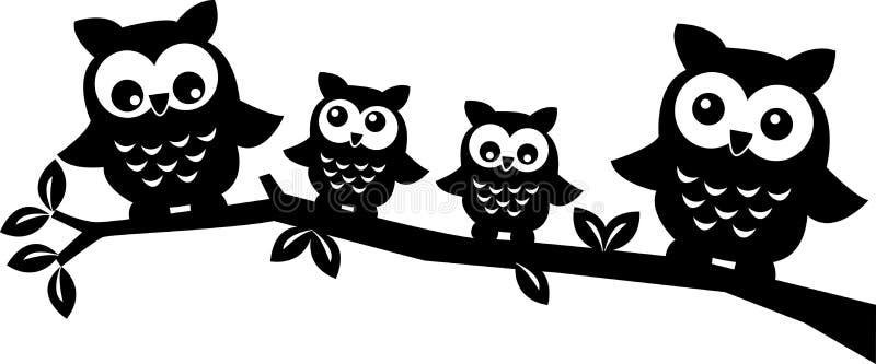 猫头鹰家庭 向量例证