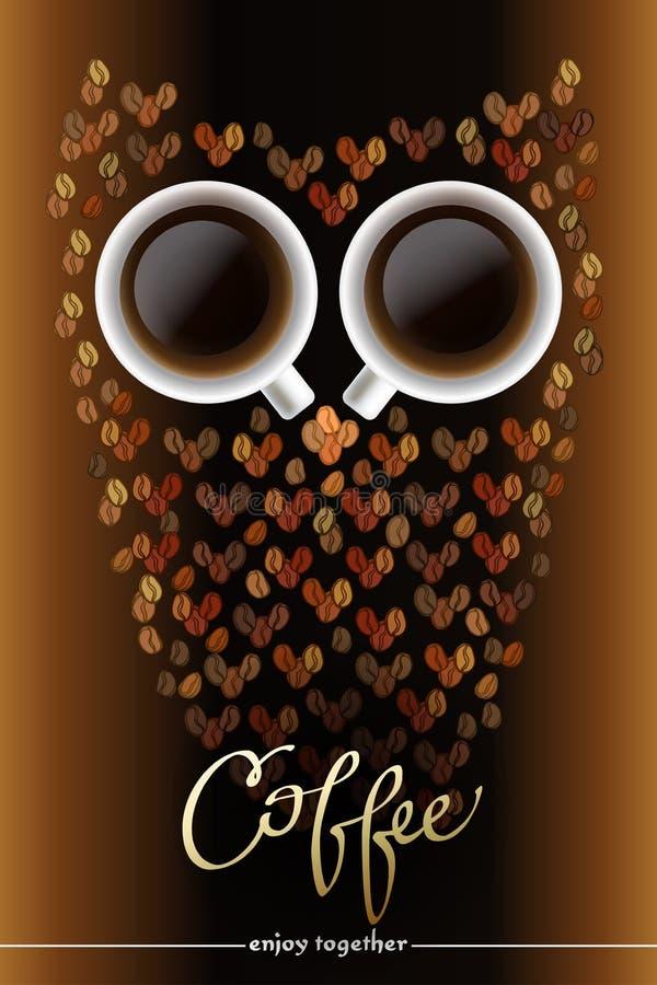 猫头鹰形状由咖啡制成 向量例证