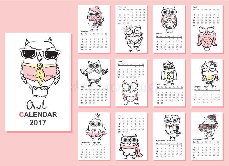 猫头鹰日历2017年 向量例证