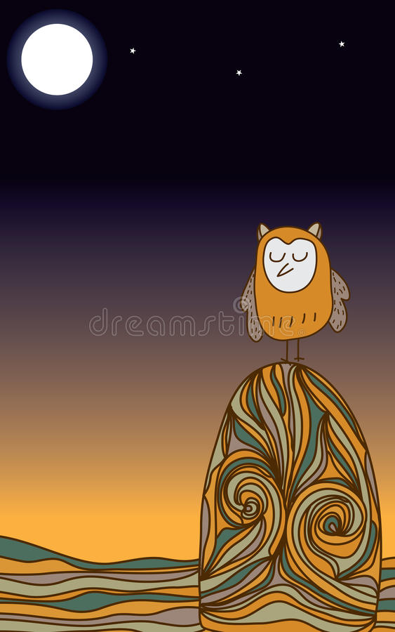 猫头鹰沈默夜 向量例证