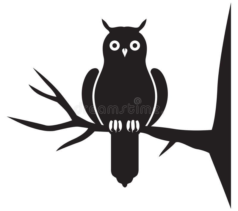猫头鹰的剪影 皇族释放例证