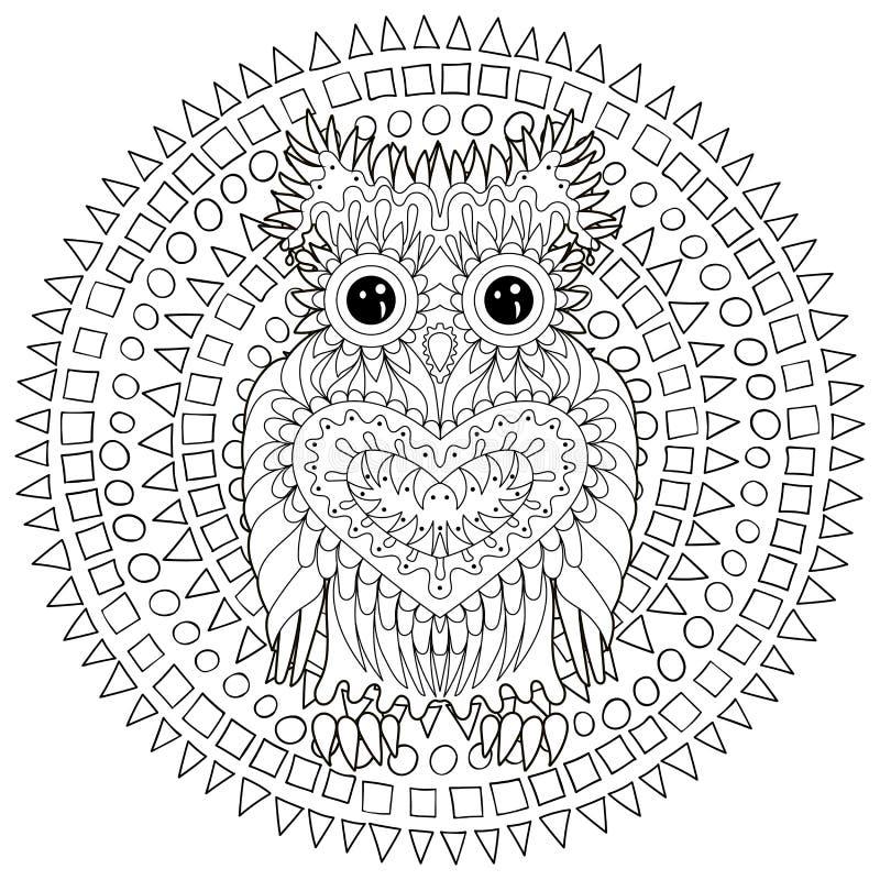 猫头鹰的黑白色网眼图案乱画 库存例证