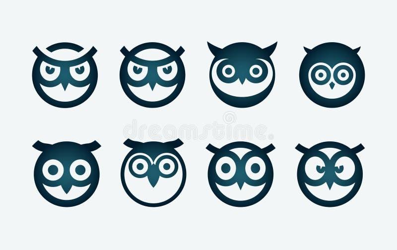 猫头鹰符号集 皇族释放例证
