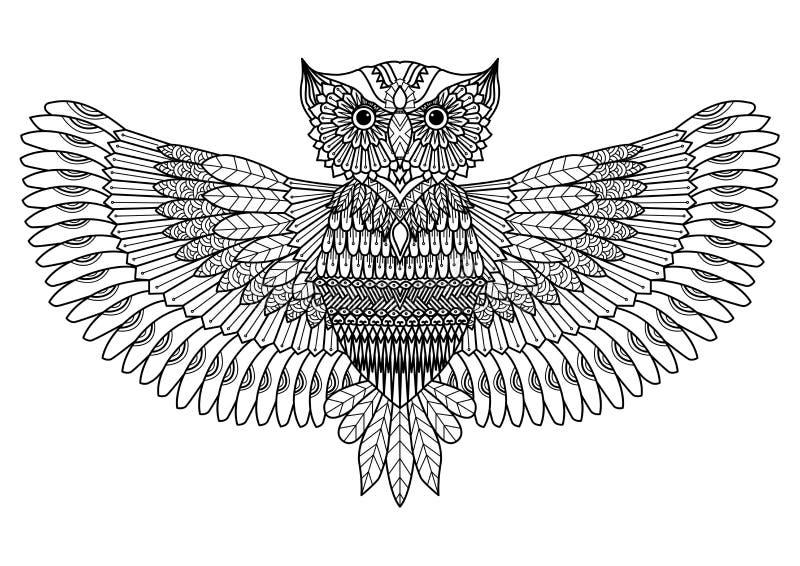 猫头鹰纹身花刺或彩图的zentangle样式 库存图片