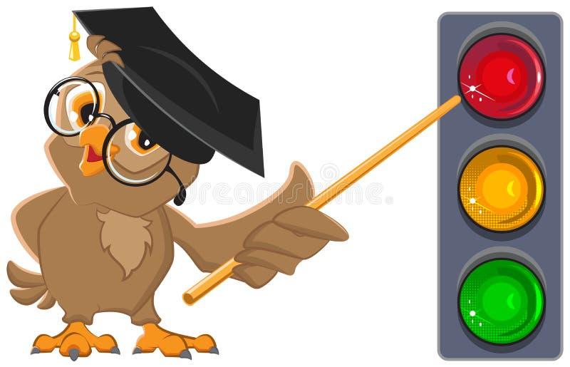 猫头鹰老师显示在光的尖 红绿灯教育 皇族释放例证