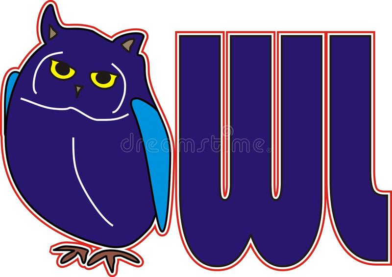 猫头鹰蓝色鸟动物字体  库存图片