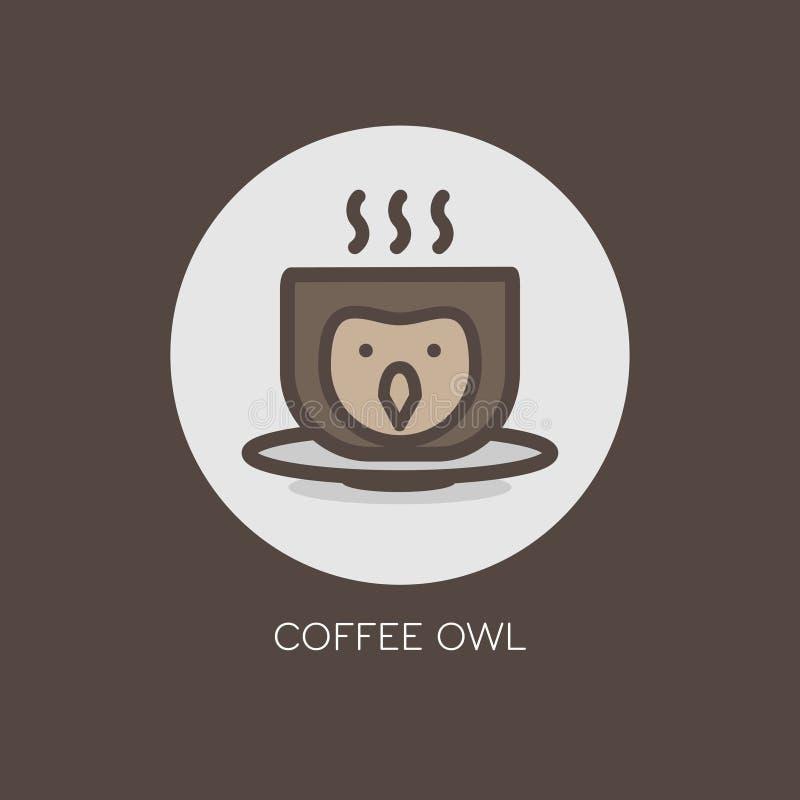 猫头鹰鸟头热的咖啡杯象商标设计 皇族释放例证