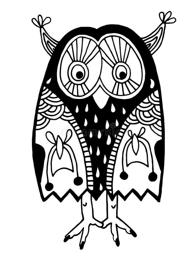 猫头鹰,墨水手图画原创艺术品  库存例证