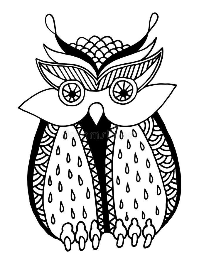 猫头鹰,墨水手图画原创艺术品  皇族释放例证