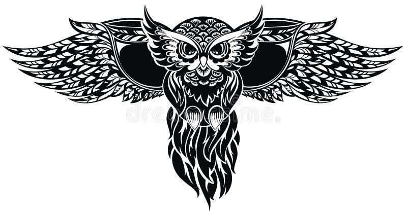 猫头鹰 检查设计图象我的投资组合相似的纹身花刺 皇族释放例证
