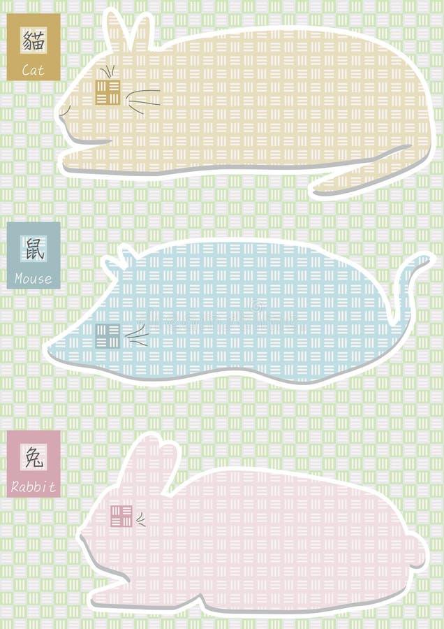 猫eps鼠标兔子形状样式 向量例证
