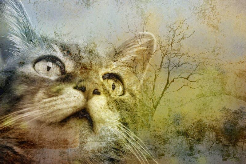 猫grunge纵向 免版税库存照片