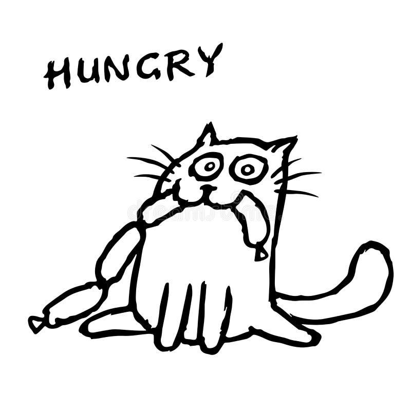 猫Tik吃香肠 查出的向量例证 向量例证