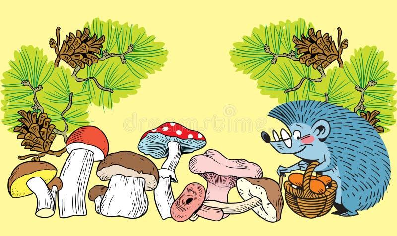 猬和蘑菇 向量例证