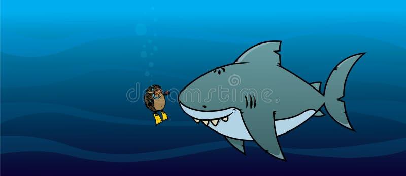 猬和鲨鱼 向量例证