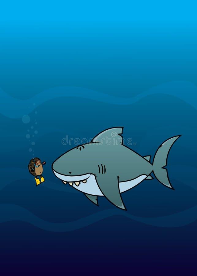 猬和鲨鱼 皇族释放例证