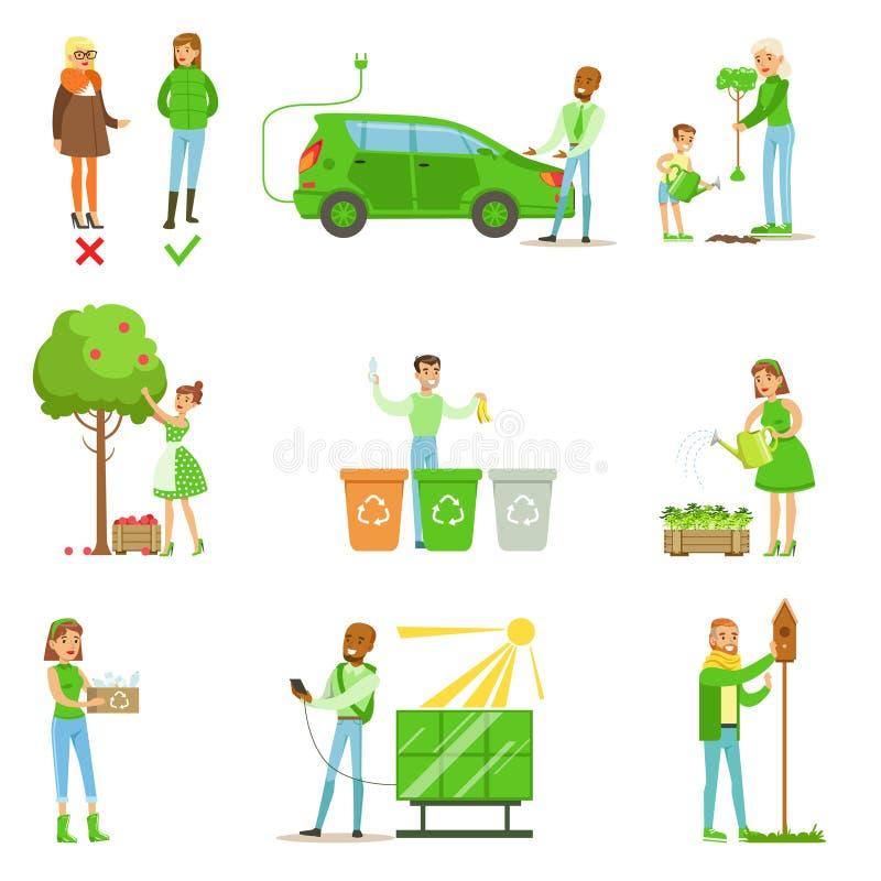 贡献入环境保存通过使用环境友好的能量和回收例证从的男人和妇女 库存例证