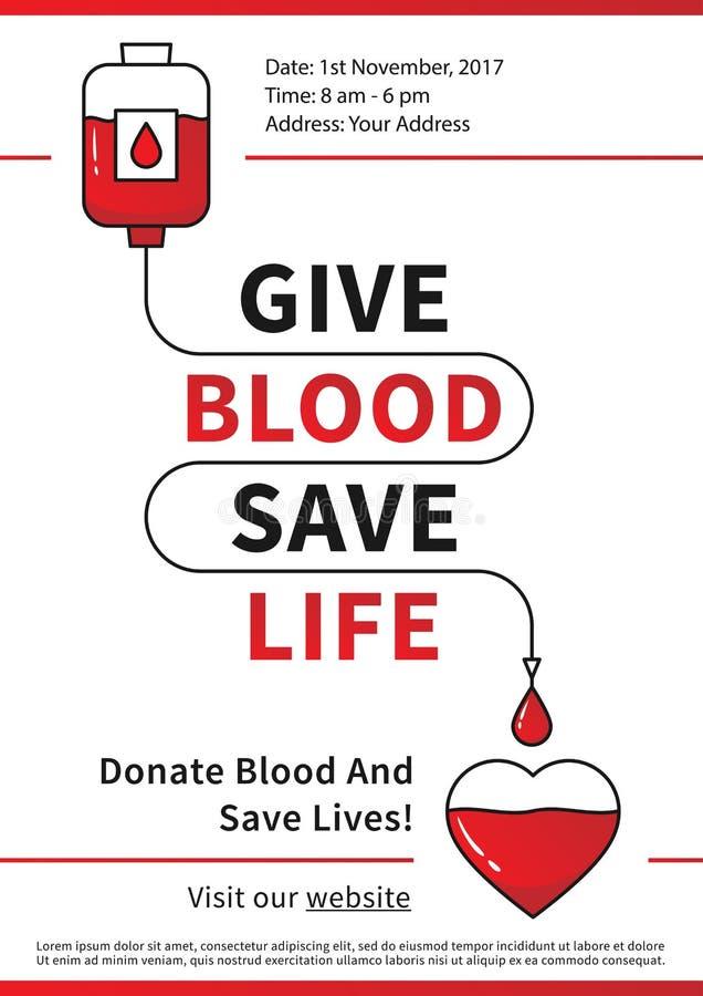 献血与红色心脏的传染媒介例证 库存例证