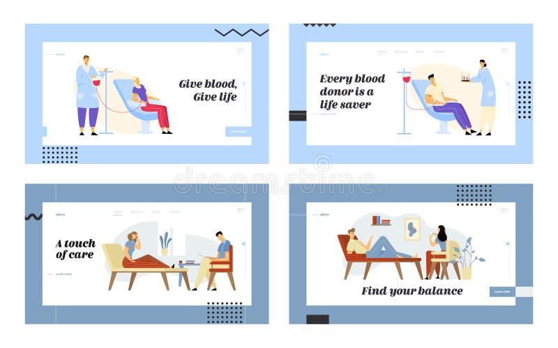 献血和心理学家任命网站着陆页集合,施主在给命脉,Talking医生的诊所 库存例证