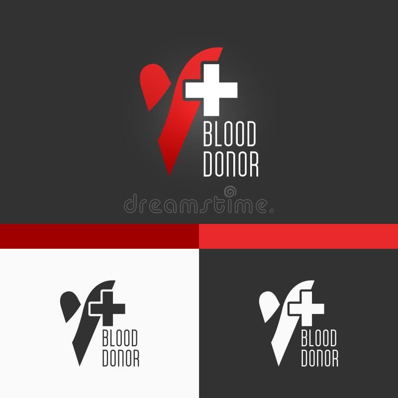 献血商标模板。现代传染媒介EPS10概念例证设计 皇族释放例证
