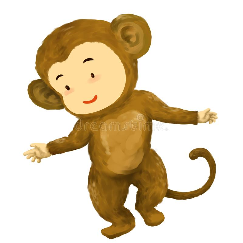 猴子孩子,猴子服装跳舞的男孩充满喜悦 向量例证