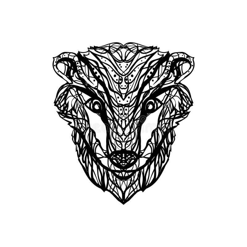 獾/brock头黑白被隔绝的传染媒介图画  库存例证