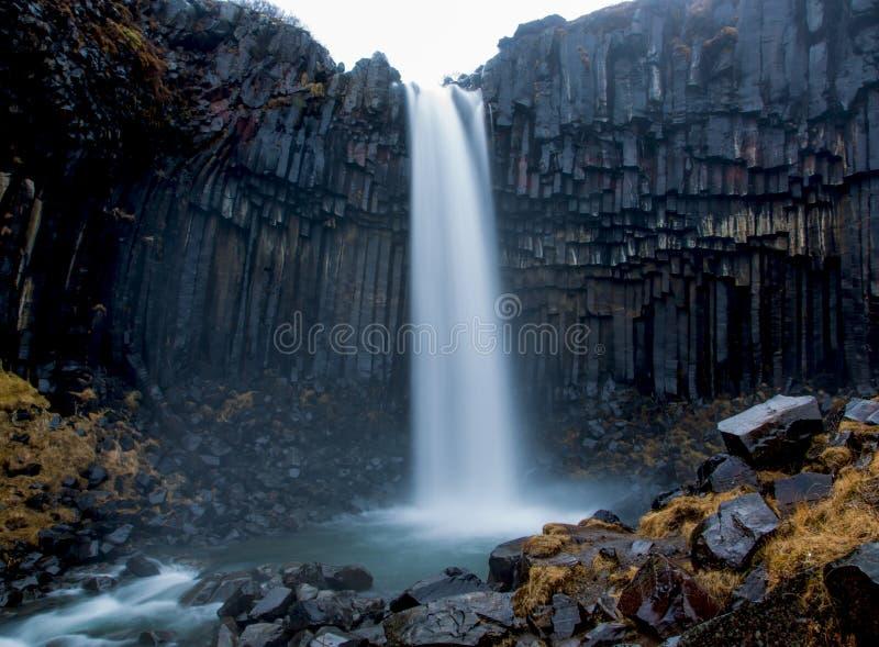 玄武岩专栏围拢的Svartifoss瀑布 图库摄影