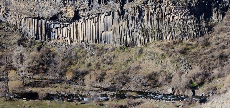 玄武岩Garni峡谷,亚美尼亚专栏全景  库存图片