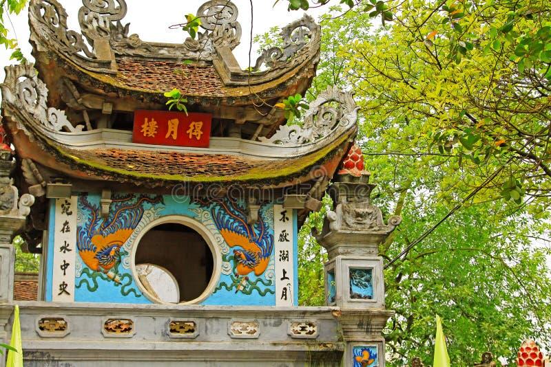 玉山的寺庙在还剑湖,河内越南 库存照片