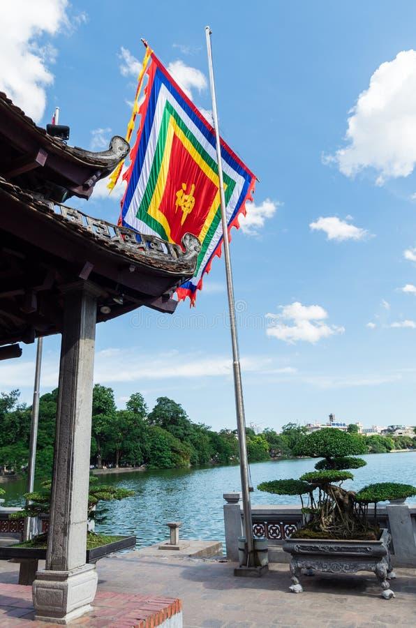 玉山的寺庙还剑湖的在河内,越南 库存照片