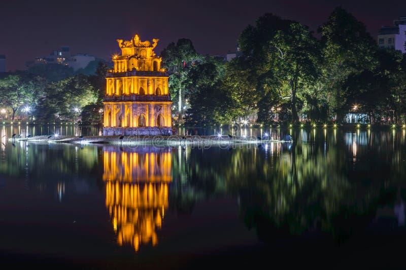 玉山,还剑湖,河内,越南的寺庙 库存图片