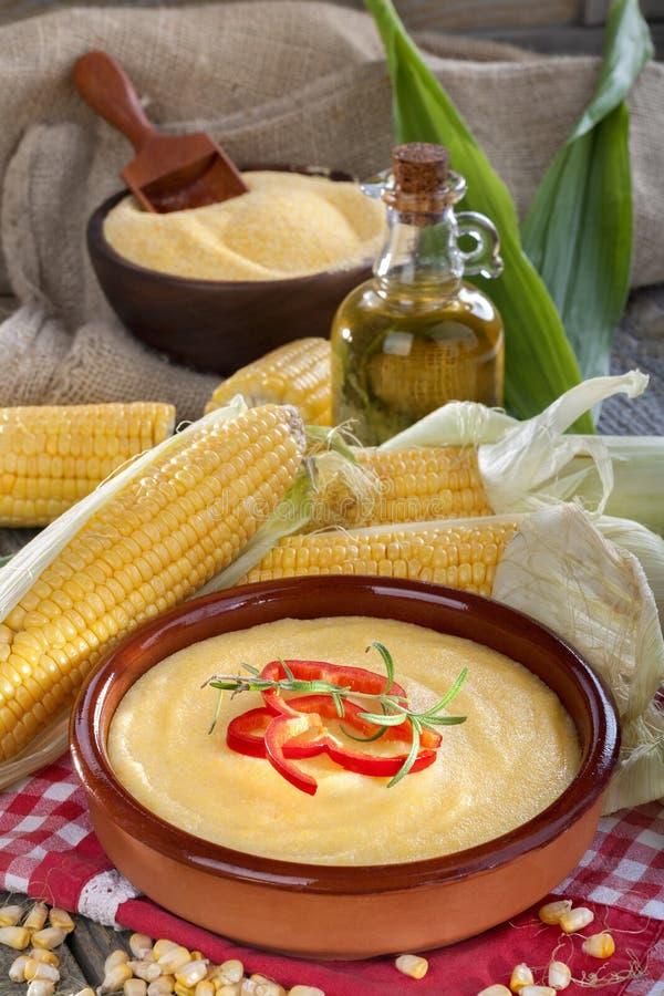 玉米、沙粒和玉米油 免版税图库摄影