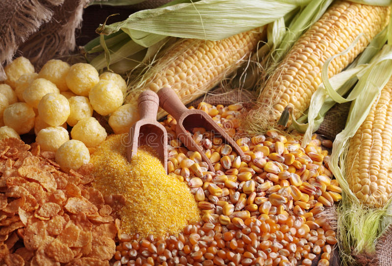 玉米产品 免版税库存照片