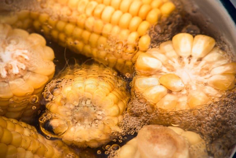玉米新芽在平底深锅被烹调 免版税库存照片