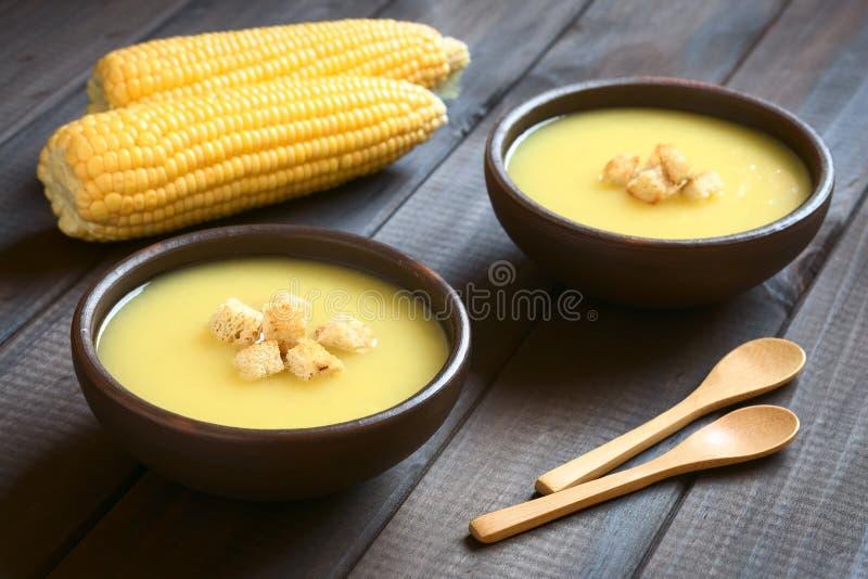 玉米汤奶油用油煎方型小面包片 免版税库存图片