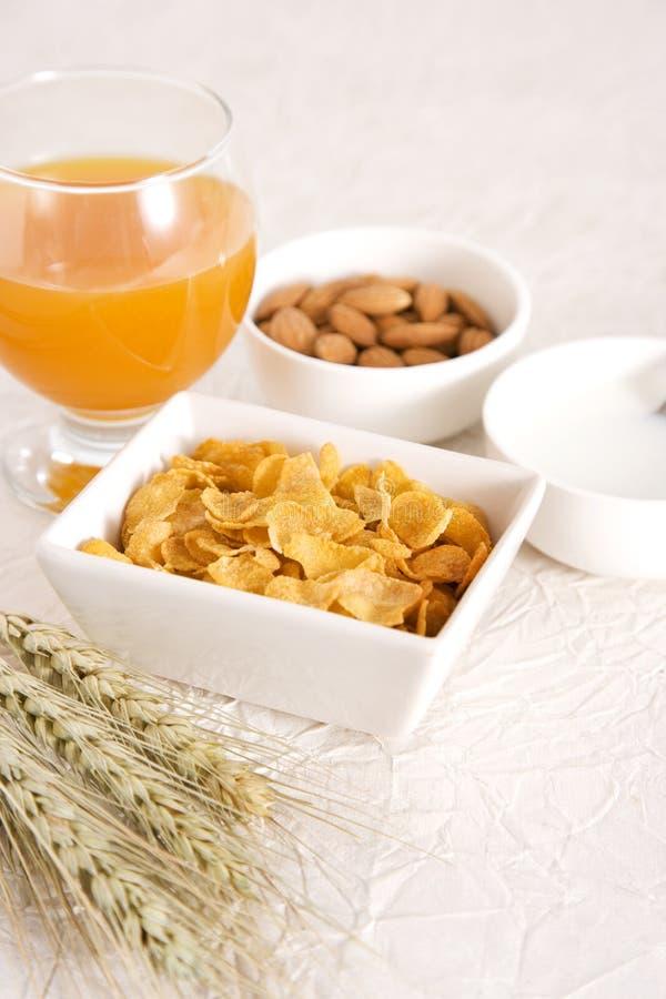 玉米片汁牛奶桔子 免版税图库摄影